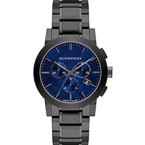 Burberry Herren Armbanduhr Armband Edelstahl Grau Gehaeuse Schweizer Quarz Zifferblatt Blau BU9365