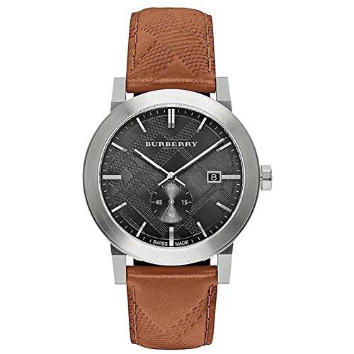 Burberry Armband Leder Gehaeuse Edelstahl Schweizer Quarz Zifferblatt Grau Analog BU9905