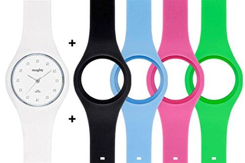 Naughty Watch Montres Femme NAUGHTY 1 Set mit Damenuhren Swarovski Kristallverzierung inkl 5 Uhrenbaender aus Silikon
