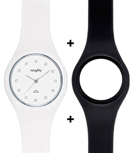 Naughty Watch Montres Femme Set mit mit Swarovski Kristallverzierung 2 Uhrenbaender aus Silikon inklusive