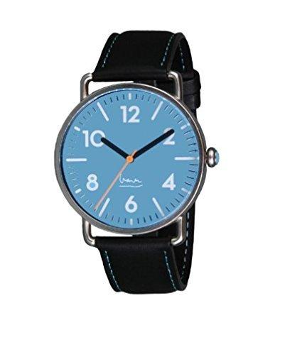 Project 7103A Herren Edelstahl Lederband Blau Zifferblatt Witherspoon Michael Graves Aqua Uhr