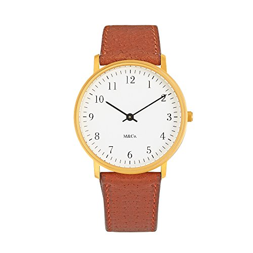 Project 7401BR BR Herren Braun Lederband Weiss Zifferblatt M Co Bodoni Brass Uhr
