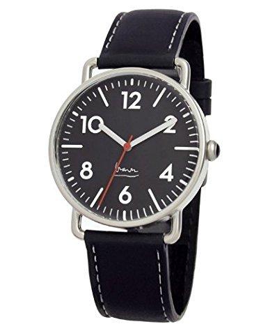 Project 7104B Herren Edelstahl Lederband Schwarz Zifferblatt Witherspoon Michael Graves Aqua Watch