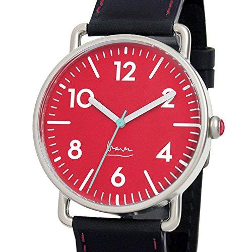 Project 7106R Herren Edelstahl Lederband Rot Zifferblatt Witherspoon Michael Graves Aqua Uhr