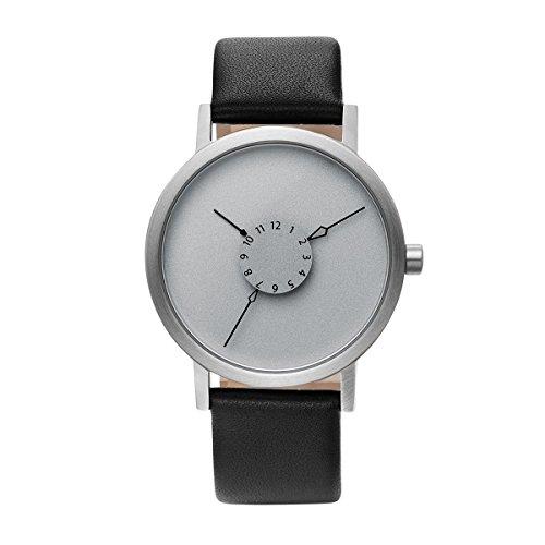 Projects Watches Nadir Steel Quarz Edelstahl Grau Matte Schwarz Leder Unisex Uhr