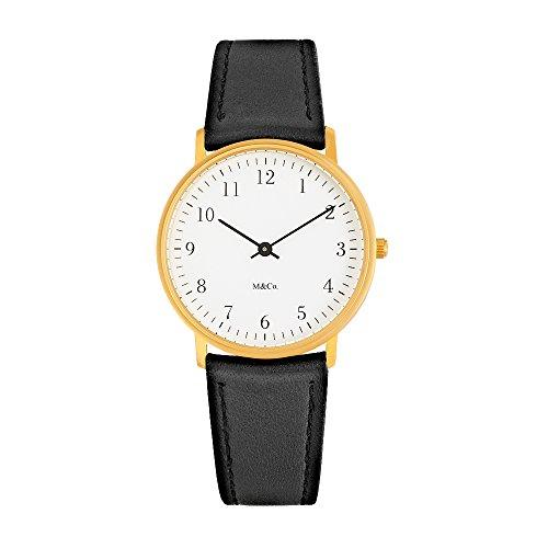 Projekte Armbanduhr M CO Bodoni Schriftart Messing W schwarz Leder Band 7401br bk