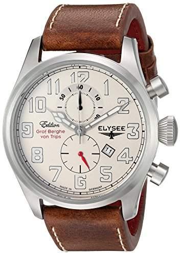 Elysee Von Trips-Edition Men- Quarzuhr mit Beige Dial Chronograph Leder braun 38007