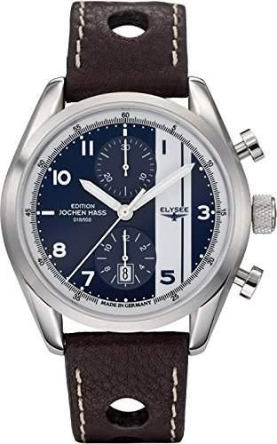 Elysee Herren-Armbanduhr XL Jochen Mass AnalogAutomatik Leder 70950