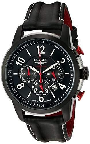 Elysee Race 1 MenHerren Quarzuhr mit schwarzem Zifferblatt Chronograph Anzeige und schwarzem Lederarmband 80524L