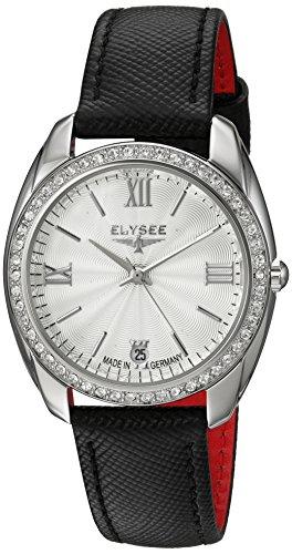 Schwarze mit Strasssteinen Diana von Elysee Edle Armbanduhr Damen Silber schwarz Analog Uhr Zeitloses Geburtstagsgeschenk fuer Frauen