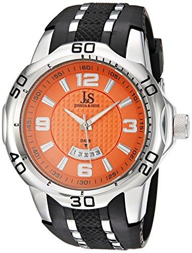 Joshua Sons Herren Armbanduhr Quarz mit Orange Zifferblatt Analog Anzeige und Legierung Armband jx110or