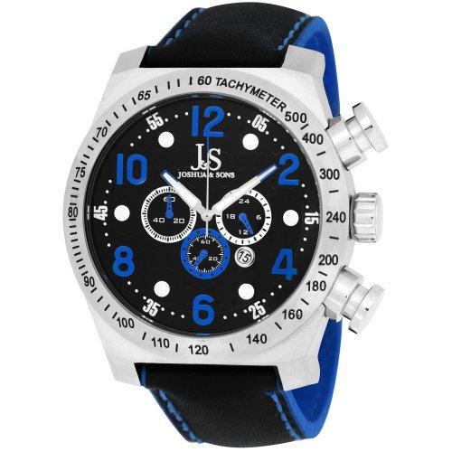 Joshua Sons Herren Chronograph Edelstahl blau Sport Armbanduhr