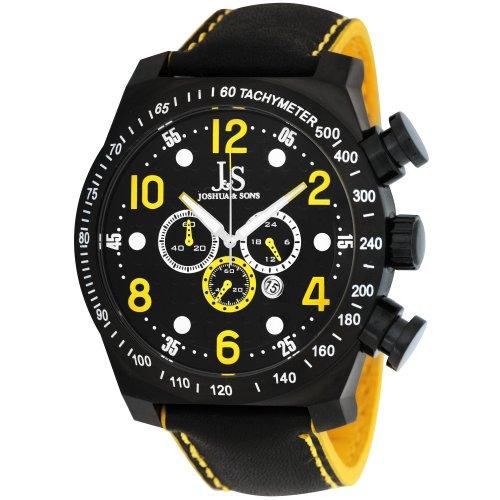 Joshua Sons Herren Chronograph Edelstahl Sport Uhr mit Lederband