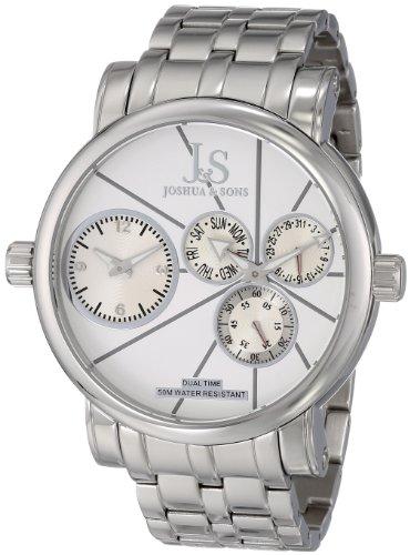 Joshua Sons Herren JS 35 SS Dual Time Stainless Steel Uhr