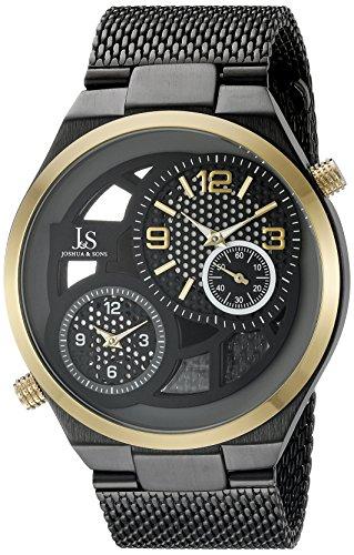Joshua Sons Herren Quarz Uhr mit Zifferblatt Analog Anzeige und Schwarz Edelstahl Armband jx111bkr