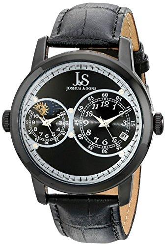Joshua Sons Herren 44mm Schwarz Leder Armband Metall Gehaeuse Datum Uhr JS87BK