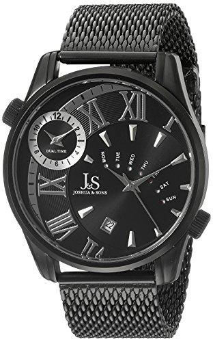Joshua Sons Herren Schwarz Rund Zifferblatt Drei Hand Quarz Schwarz Armband Armbanduhr