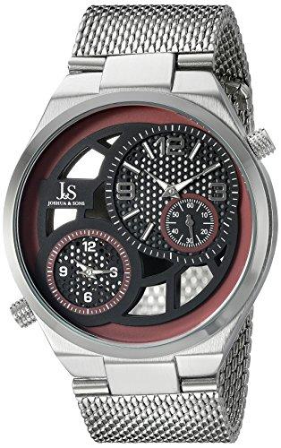 Joshua Sons Herren Rund Schwarz Burgund und siehe durch Zifferblatt zwei Hand Quarz Armband Armbanduhr