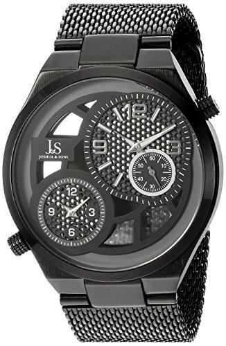 Joshua Sons Herren Rund Schwarz Grau und siehe durch Zifferblatt zwei Hand Quarz Schwarz Armband Armbanduhr