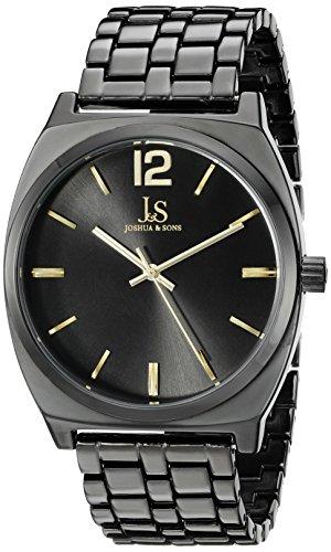 Joshua Sons Damen schwarz rund Zifferblatt Drei Hand Quarz Schwarz Armband Armbanduhr