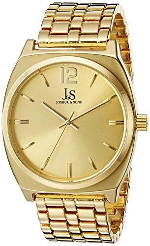 Joshua Sons Damen Rund Gelb Gold Zifferblatt Drei Hand Quarz Gold Ton Armband Armbanduhr