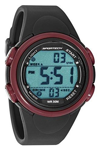 Sportech Unisex grau und Burgund Rand Digital Sport Armbanduhr sp11004