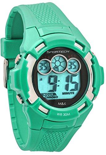 Sportech Unisex gruen Extreme Racer Digital Sport Armbanduhr sp10607