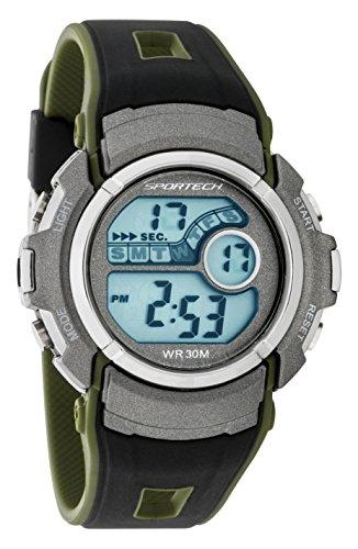 Sportech Unisex Military khaki gruen und schwarz wasserabweisend Digital Sport Armbanduhr sp10116