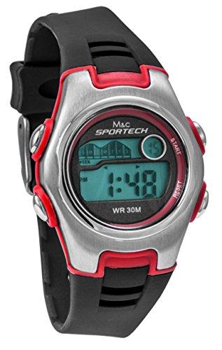 Sportech Unisex schwarz rot Racer Digital Sport Armbanduhr sp10216