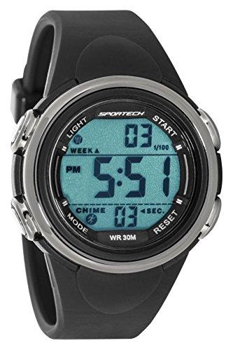 Sportech Unisex schwarz und silber Rand Digital Sport Armbanduhr sp11006