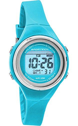 Sportech SP10708 Damen Armbanduhr hellblau duennes Band wasserbestaendig Schwimmen Sport