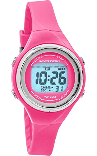Sportech SP10710 Damen Armbanduhr duennes Band wasserbestaendig Schwimmen Sport Helles Rosa