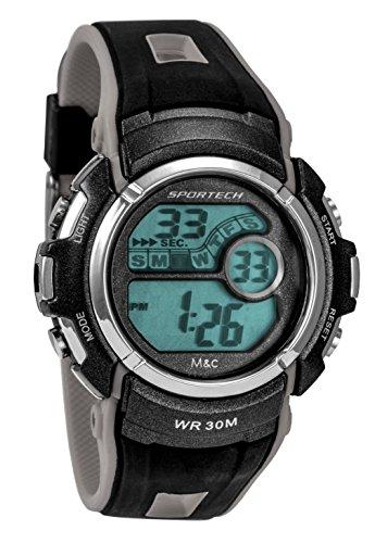 Sportech Unisex Fusion stossfest schwarz grau Racer Digital Sport Armbanduhr sp10109
