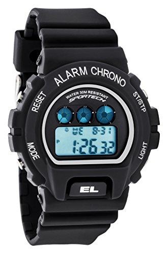 Sportech Herren stossfest matt schwarz Racer Digital Sport Armbanduhr sp10412