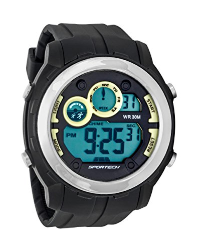 Sportech Unisex Indigo grau und silber Rand Super grossen Racer Digital Sport Armbanduhr sp10902