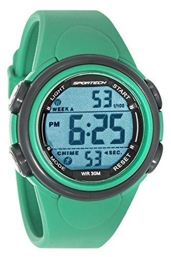 Sportech Unisex gruen und grau Rand Digital Sport Armbanduhr sp11002