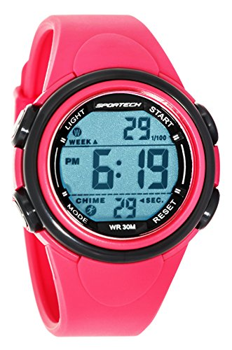 Sportech Unisex hell rosa und grau Rand Digital Sport Armbanduhr sp11003