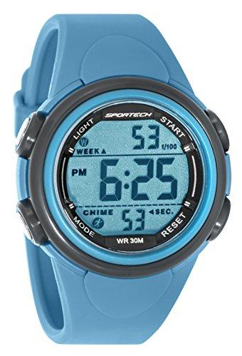 Sportech Unisex Digitale Sport Armbanduhr Sky Blau mit grauem Rand SP11001