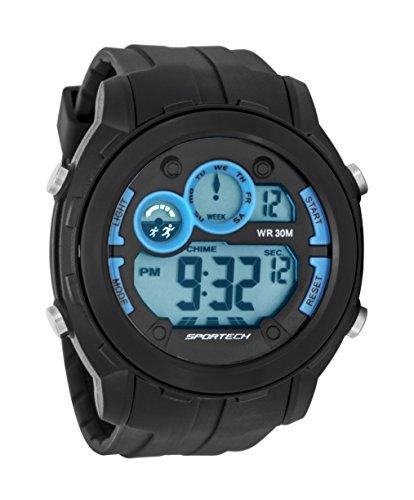 Sportech Unisex dunkelgrau grau und himmelblau Rand Super grossen Racer Digital Sport Armbanduhr sp10901