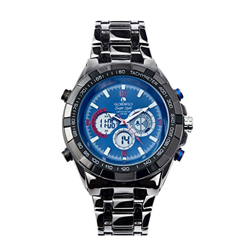 Globenfeld Super Sport Armbanduhr mit Metallarmband Analog Digital Anzeige mit 3 Funktionen Stoppuhr Tachymeter Wasserdicht bis 30 Meter Mitternachtsblau