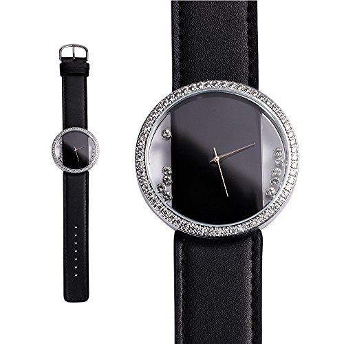 Uhr mit weissen Swarovski Elements und schwarz Lederbandarmband Blue Pearls CW 0016 C NOIR