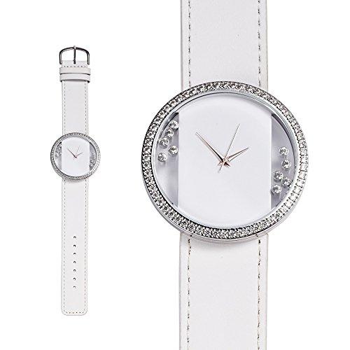 Uhr mit weissen Swarovski Elements und weiss Lederbandarmband Blue Pearls CW 0015 C BLANC