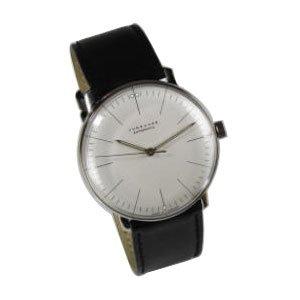 Max Bill Manuelle Linien Armbanduhr Weiss Gesicht Schwarz Leder Band 34 mm