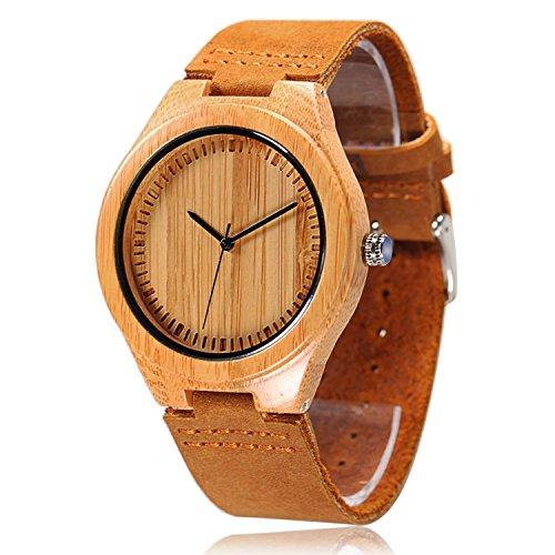 cucol Herren Bambus Holz Uhren ECHTES LEDER ARMBANDUHR Japanisches Quarzuhrwerk Geschenk fuer Groomsmen