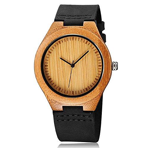 cucol Mens Bewegung von Holz aus schwarzem Leder Uhren Rindsleder Gurt Japanisches Quarz fuer Groomsmen
