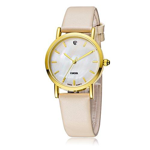 cucol Damen Uhr mit Perlmutt Zifferblatt Traeger aus SWISS Quarz Uhrwerk austauschbar