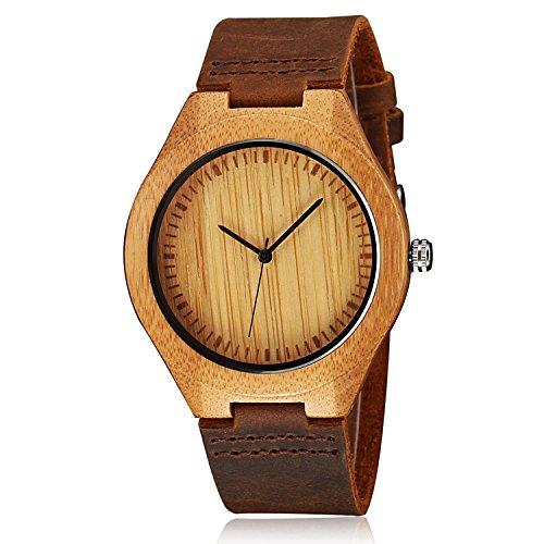 cucol Herren Uhren aus Holz Braun Rindsleder Lederband Casual Uhr fuer Groomsmen Vatertag Geschenk