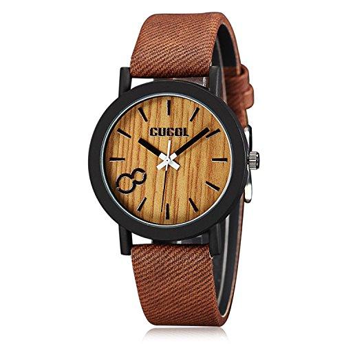 cucol Eco Faux Holz Ziffernblatt Leder Band Uhren fuer Maenner und Frauen casual Design Braun Farbe