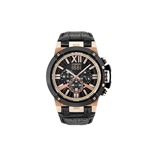Armbanduhr Herren Cerruti 1881 PRAGELATO Armband Leder Schwarz Rose Gold Chronograph cra145srb02bk