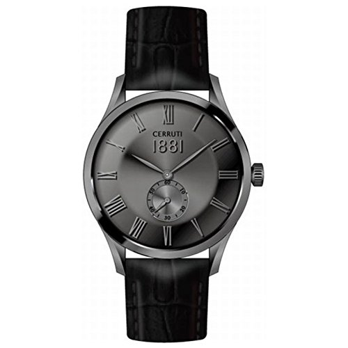 CERRUTI CRA141SU05BK VICO Uhr Lederarmband Edelstahl 50m Analog schwarz grau